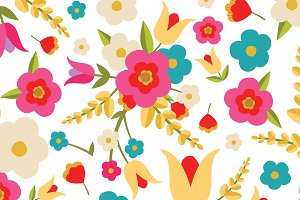 Country Flowers Seamless Pattern