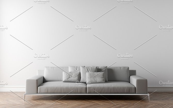 White wall and sofa architecture photos on creative market for Four blank walls