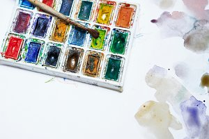 Brush and watercolor paints