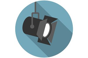 Movie spotlight flat icon