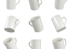9 white mugs in perspective