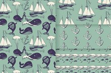Set of sea patterns with funny whale