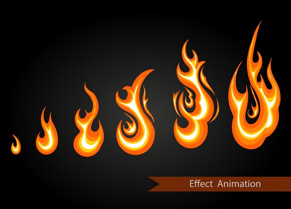 Vector effect animation. fire - Illustrations