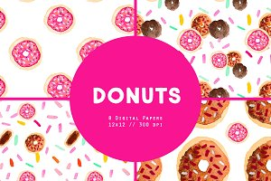 Donut Watercolor Digital Patterns