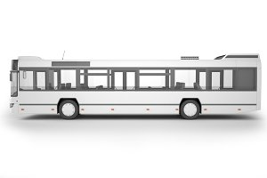 Bus on white background