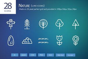 28 Nature Line Icons