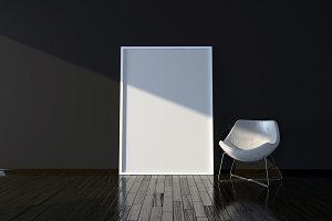 Chair and blank picture frame