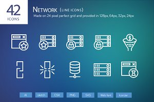 42 Network Line Icons