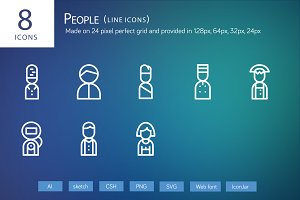 8 People Line Icons