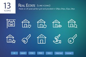 13 Real Estate Line Icons