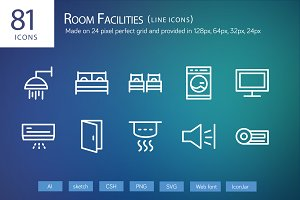 81 Room Facilities Line Icons