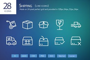 28 Shipping Line Icons