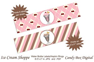 Retro Ice Cream Shoppe Water Labels