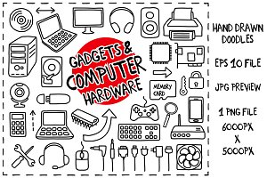 Computer Hardware Doodles set