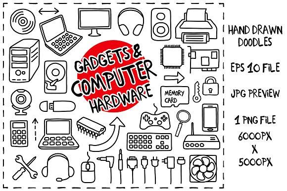 Computer Hardware Doodles set