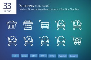 33 Shopping Line Icons