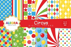 Circus Digital Paper Pack