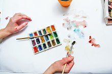 Watercolor paints. Artist hand draw