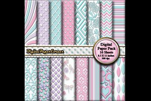Aqua Pink Embossed Digital Paper