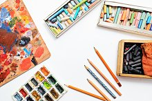 Pencils and paints