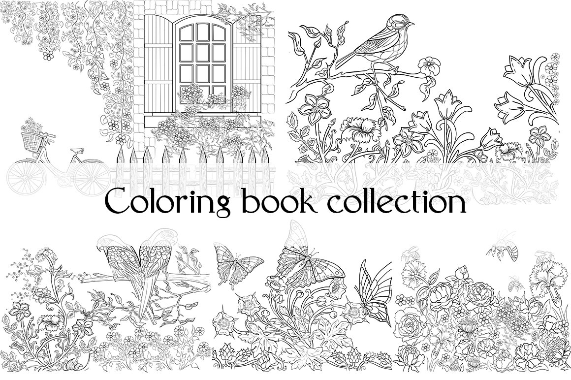 Coloring book collection ~ Illustrations ~ Creative Market