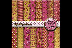Gold Pink Embossed Digital Paper