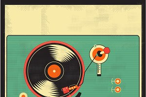 Vinyl player Vector Grunge