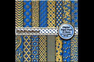 Gold Blue Embpssed Digital Paper