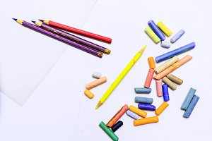 Colored pencils and crayons