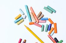 Colored crayons and pencils