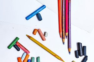Colored pencils and crayons closeup