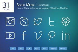31 Social Media Line Icons