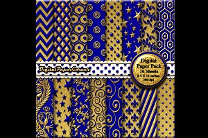 Gold Navy Blue 3D Digital Paper