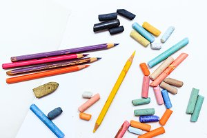 Colored pencils and crayons.