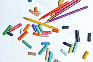 Colored pencils and crayons. Arts