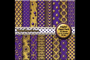 Gold Purple Embossed Digital Paper