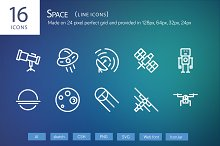 16 Space Line Icons