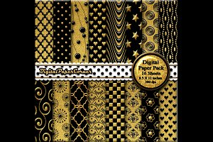 Black Gold Embossed Digtial Paper