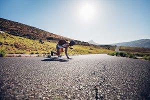 skater practicing skateboarding
