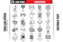 Thin Line Business Education Icons