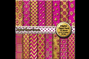 Hot Pink Gold Embossed Digital Paper