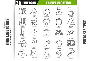 Thin Line Travel Vacation Icons