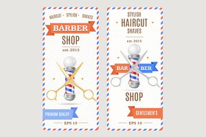 Barber Shop Banners Flyers Card.