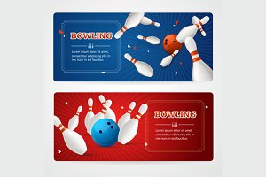 Bowling Banner Card Set. Vector