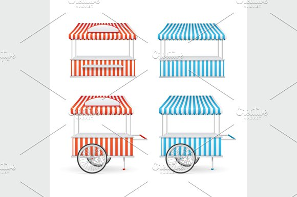 Market Stall Set. Vector - Objects