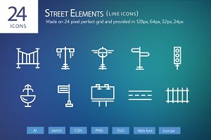 24 Street Elements Line Icons