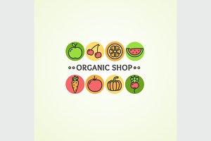 Organic Shop Concept. Vector