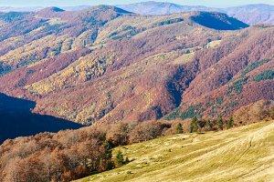 Autumn colored mountain slopes.
