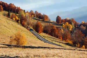 Rural mountain road.