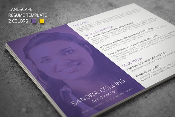 landscape resume template resume templates on creative market